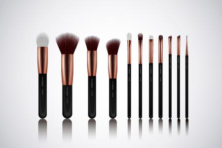 Professionelles Make-up-Pinsel-Set. Für Concealer Powder Blush, Eye Shadow oder Brow einzeln. Markenvorlagen.