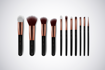 Professional Makeup Brushes kit. For concealer Powder Blush, Eye Shadow or Brow isolated. Brand templates.