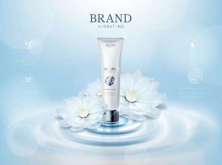 Moisturizing rose/camellia flower cosmetic skin in tube ads template for advertising with lotus flower, cosmetic mockup upon water and isolated. Vector Illustratie