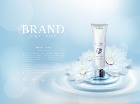 Moisturizing rose/camellia flower cosmetic skin in tube ads template for advertising with lotus flower, cosmetic mockup upon water and isolated.