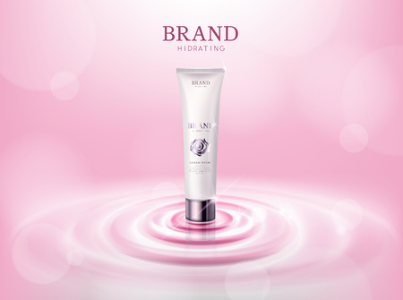 Moisturizing rosecamellia flower cosmetic skin in tube ads template for advertising, cosmetic mockup upon water and isolated. Illustration