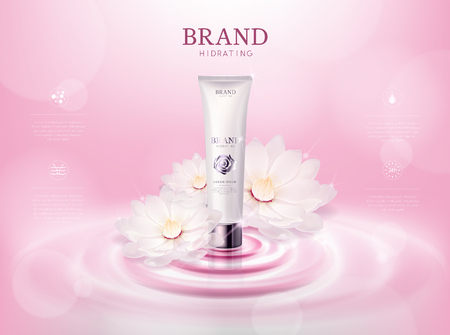 Moisturizing rosecamellia flower cosmetic skin in tube ads template for advertising with lotus flower, cosmetic mockup upon water and isolated.