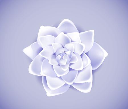 Blossoming blue flower isolated in background. Spring Rose, camellia flower. Illustration