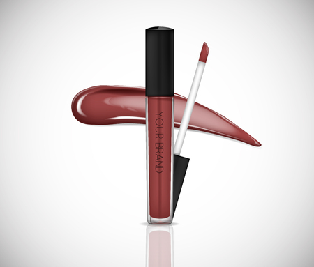 Brown Liquid lipstick, Lip gloss in elegant glass bottle with black lid, closed and open container with brush, isolated . Make up smear.