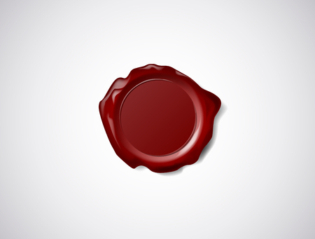 Red wax seal, signet or stamp isolated on white Stock Illustratie