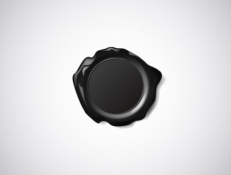 Black wax seal, signet or stamp isolated on white