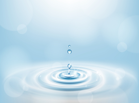 Water Drop falling making droplet splash and waves clean and fresh symbol.