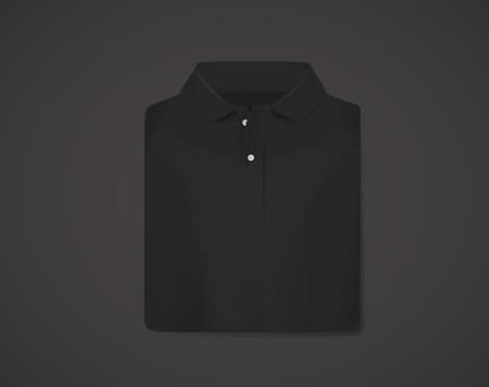 Black folded polo shirt mockup isolated. Stock Illustratie