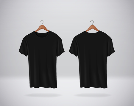 Black T-Shirts Mock-up clothes hanging isolated on wall, blank front and rear side view. Stock Illustratie