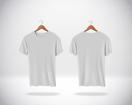 Gray T-Shirts Mock-up clothes hanging isolated on wall, blank front and rear side view.