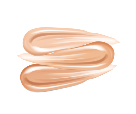 Cosmetic, lipstick make up liquid foundation texture smudges. Beige Foundation Makeup Smear. Tones Strokes. Illustration