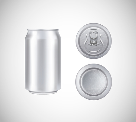 Metal can top, front, bottom view. Can vector visual 330 ml. For beer, lager, alcohol, soft drinks, soda advertising. Vectores