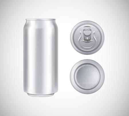 Lattina di metallo vista dall'alto, dal davanti, dal basso. Può vettore visivo 500 ml. Per birra, birra chiara, alcolici, bibite, pubblicità di bibite.