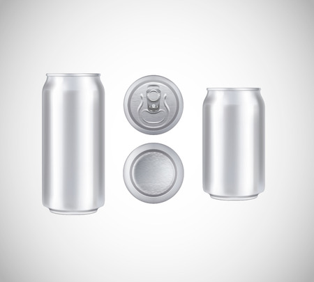Metal can top, front, bottom view. Can vector visual 330 and 500 ml. For beer, lager, alcohol, soft drinks, soda advertising.