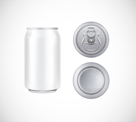 White can top, front, bottom view. Can vector visual 330 ml. For beer, lager, alcohol, soft drinks, soda advertising. Vectores