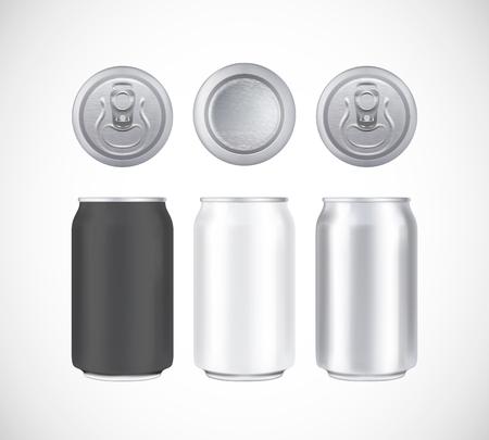 Bierpackung aus Aluminium. Metall, schwarz und weiß kann Vorder-, Ober- und Unteransicht Kann visuelle 330 ml vektorisieren. Für Bier, Lager, Alkohol, Erfrischungsgetränke, Limonadenwerbung. Vektorgrafik