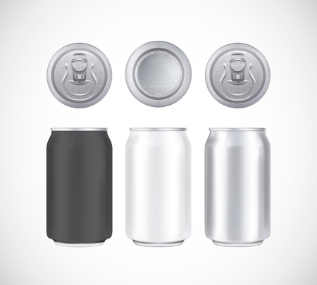 Pack de bière en aluminium. Vue de face, de dessus et de dessous de la boîte en métal, noir et blanc. Peut vecteur visuel 330 ml. Pour la bière, la bière blonde, l'alcool, les boissons gazeuses, la publicité pour les sodas. Vecteurs
