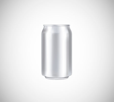 Metal can front view. Can vector visual 330 ml. For beer, lager, alcohol, soft drinks, soda advertising.