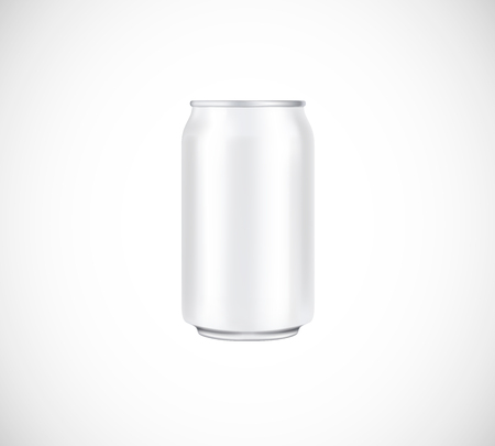 White can front view. Can vector visual 330 ml. For beer, lager, alcohol, soft drinks, soda advertising. Stock Illustratie
