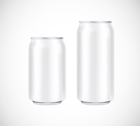 White can front view. Can vector visual 330 and 500 ml. For beer, lager, alcohol, soft drinks, soda advertising.