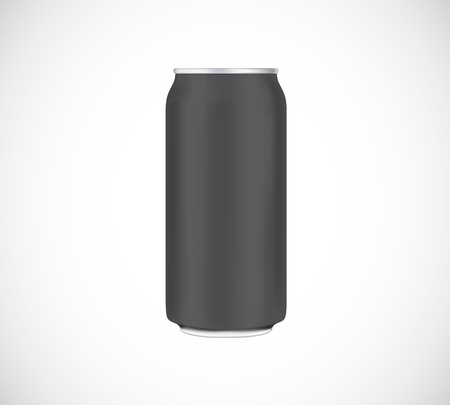 Black can front view. Can vector visual 500 ml. For beer, lager, alcohol, soft drinks, soda advertising.