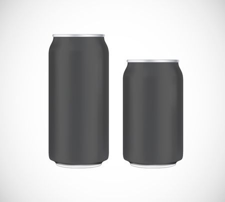 Black can front view. Can vector visual 330 and 500 ml. For beer, lager, alcohol, soft drinks, soda advertising.
