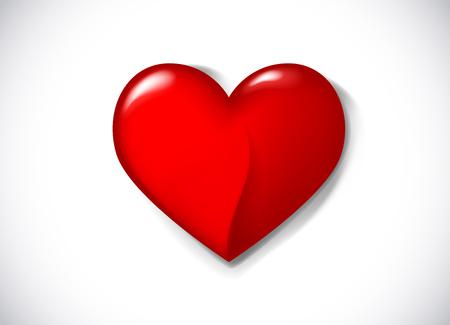 Red vector love heart shape. Three dimensional heart symbol for logo, branding.