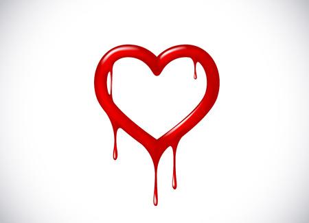 Forma de corazón rojo que se derrite con gotas. Símbolo de corazón sangriento para logotipo, marca.