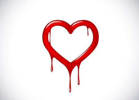 Red heart shape melting with drops. Bloody heart symbol for logo, branding. Ilustração