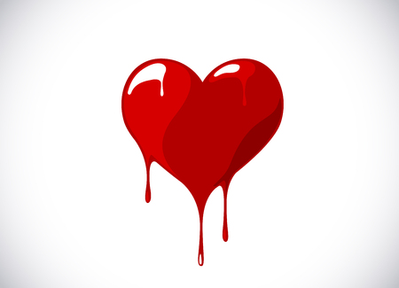 Red heart shape melting with drops. Bloody heart symbol for logo, branding. Vectores