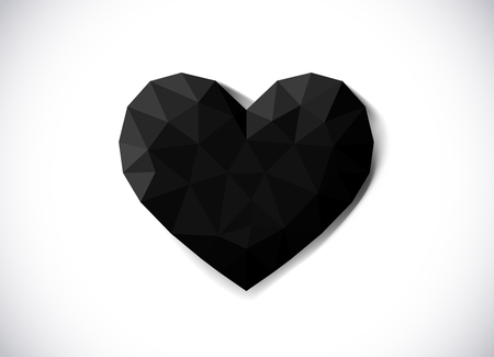 Red heart in low poly style. Love concept. Origami heart.