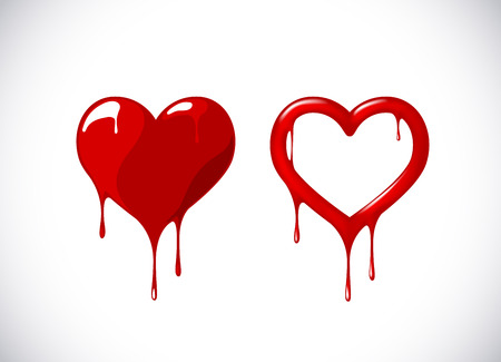 Red heart shape set melting with drops. Red blood, bloody heart symbol for logo, branding.