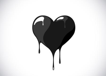 Black heart shape melting with drops. Bloody heart symbol for logo, branding. 免版税图像 - 125276355