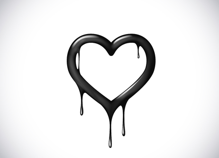 Black heart shape melting with drops. Black blood poison heart symbol for logo, branding.
