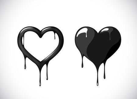 Black heart shape set melting with drops. Black blood poison heart symbol for logo, branding.