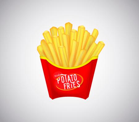 Pommes de terre frites dans une boîte d'emballage en carton rouge isolée. Frites.
