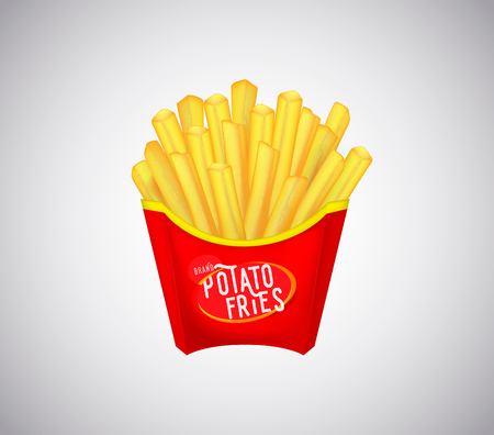 Potatoes Fries in Red Carton Package Box Isolated. French fries.