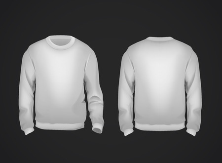 Gray mens sweatshirt template front and back view. Hoodie for branding or advertising.