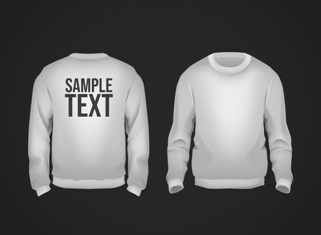 Gray men's sweatshirt template with sample text front and back view. Hoodie for branding or advertising. Stockfoto - 125276388