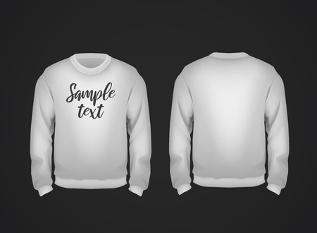 Gray mens sweatshirt template with sample text front and back view. Hoodie for branding or advertising. Çizim