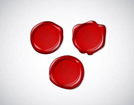 Sceau, sceau ou timbre de cire rouge coloré pour certificat