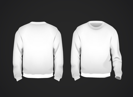 White men's sweatshirt template front and back view. Hoodie for branding or advertising. Illustration
