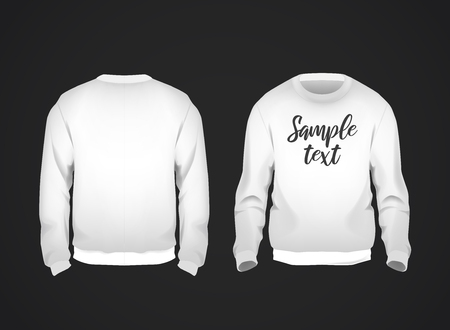 White mens sweatshirt template with sample text front and back view. Hoodie for branding or advertising.