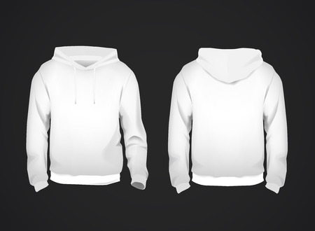 White men's sweatshirt template with sample text front and back view. Hoodie for branding or advertising.