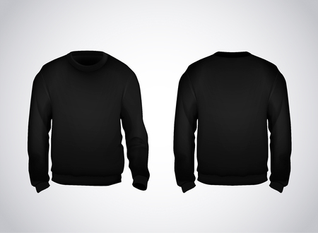 Black men's sweatshirt template front and back view. Hoodie for branding or advertising. Illustration