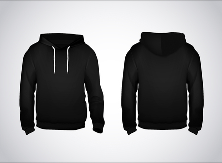 Black men's sweatshirt template with sample text front and back view. Hoodie for branding or advertising. Stockfoto - 125276395