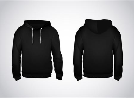 Modello di felpa da uomo nera con testo di esempio vista anteriore e posteriore. Felpa con cappuccio per il branding o la pubblicità.