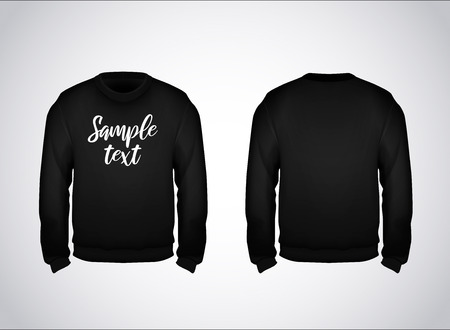 Black men's sweatshirt template with sample text front and back view. Hoodie for branding or advertising.