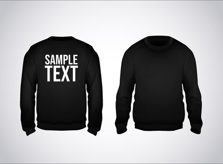 Black men's sweatshirt template with sample text front and back view. Hoodie for branding or advertising. Stockfoto - 125276397