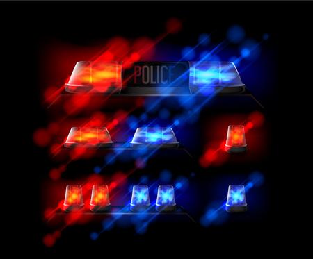 Siren set. Police flasher or ambulance flasher